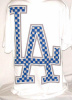 "LA Los Angeles ""Checker Logo"" Urban T Shirt Wht/Blue (6 Pack)"